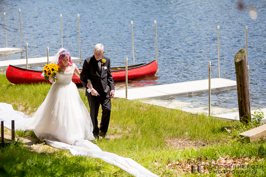 Bride walking down aisle -- Camp Takodah Wedding in Richmond NH by Lee Germeroth Photography