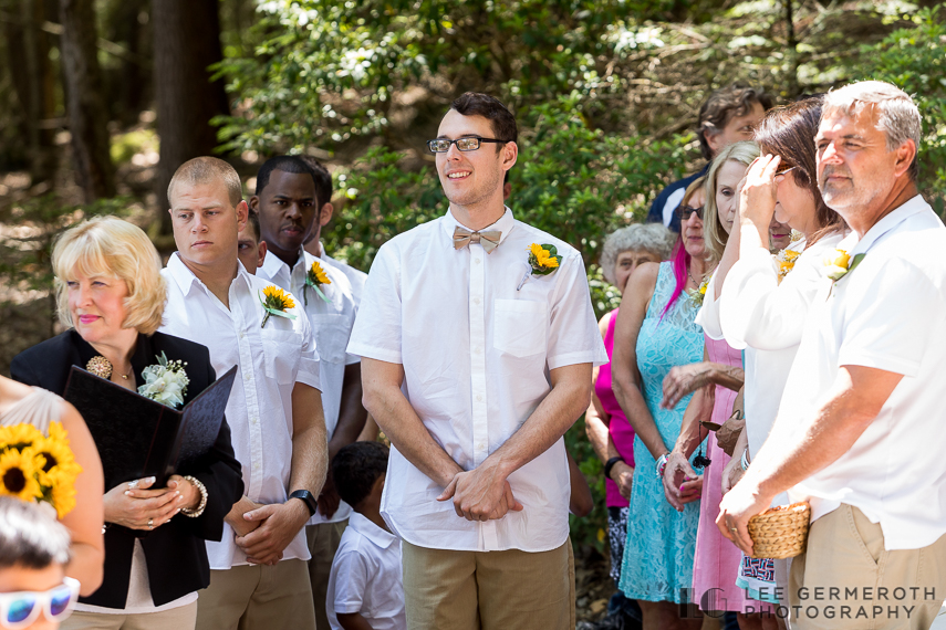 Groom first look -- Camp Takodah Wedding in Richmond NH by Lee Germeroth Photography
