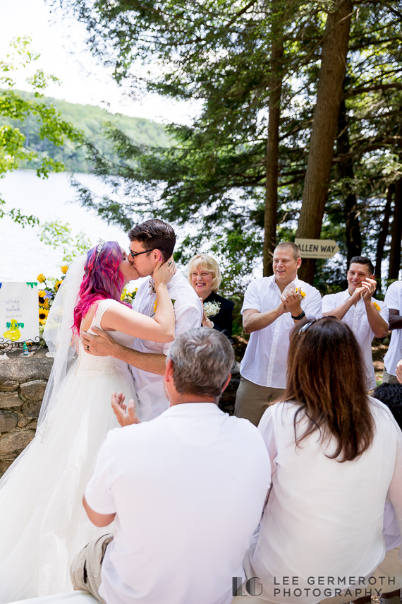 First kiss -- Camp Takodah Wedding in Richmond NH by Lee Germeroth Photography
