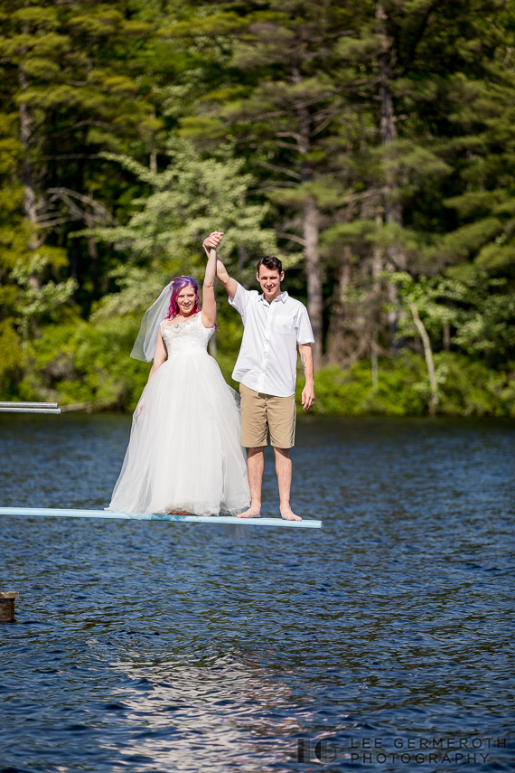 Bride and groom about to jump into lake -- Camp Takodah Wedding in Richmond NH by Lee Germeroth Photography