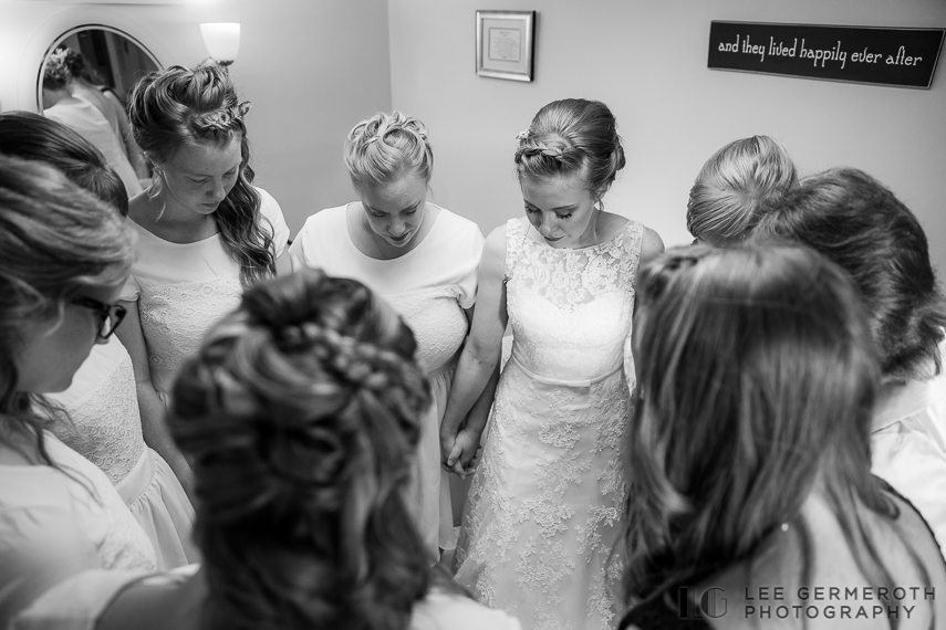 Prayer circle before ceremony -- Cathedral of the Pines Rindge NH wedding by Lee Germeroth Photography