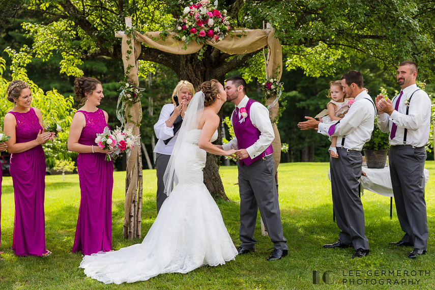 First kiss at Ceremony - Chesterfield NH Wedding Lee Germeroth Photography