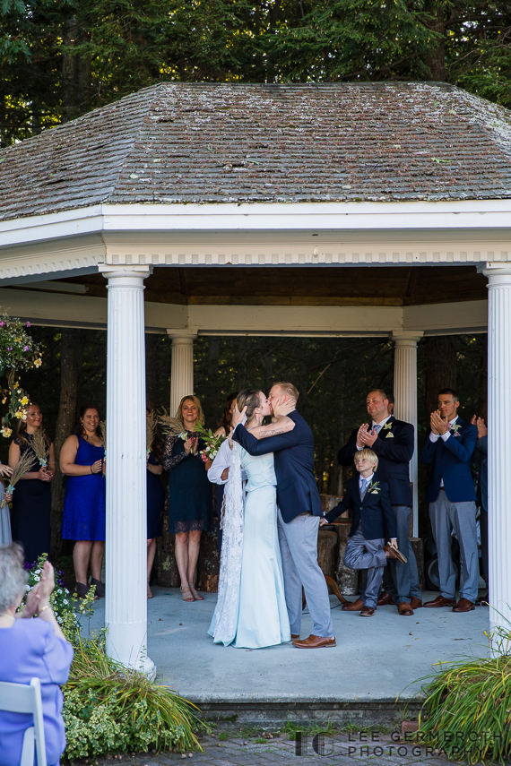 First kiss -- Hidden Hills Rindge NH Wedding by Lee Germeroth Photography