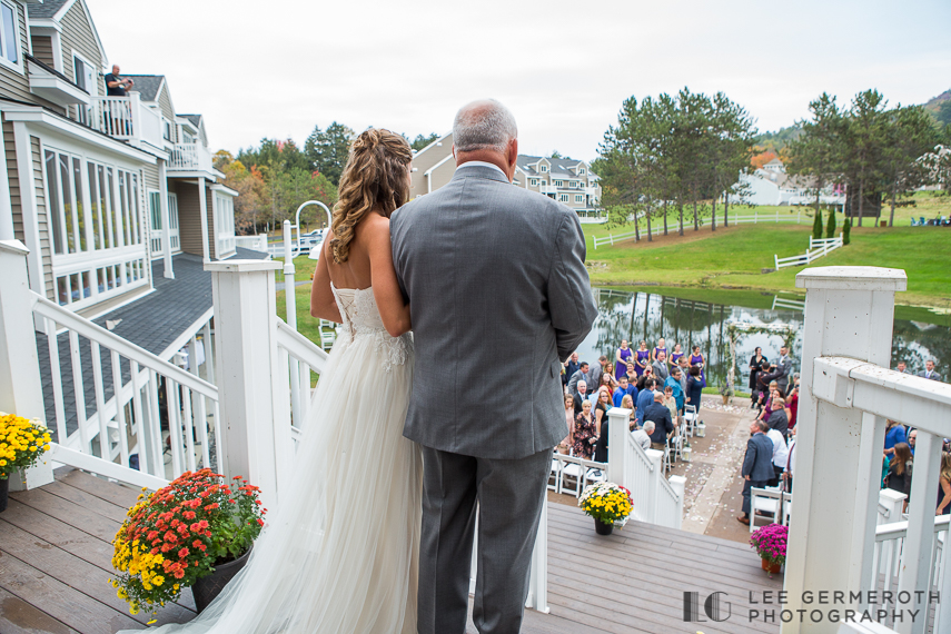 Bride walking down the aisle -- Mount Ascutney Resort Wedding by Lee Germeroth Photography