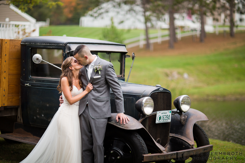 Creative Portrait with Antique Car -- Mount Ascutney Resort Wedding by Lee Germeroth Photography