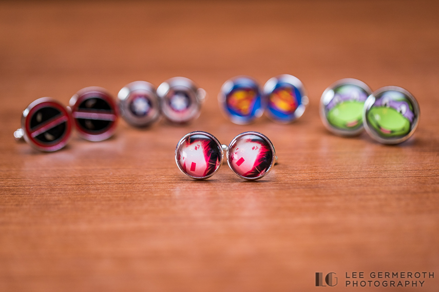 Custom superhero cufflinks -- Mount Snow Grand Summit Resort Wedding by Lee Germeroth Photography