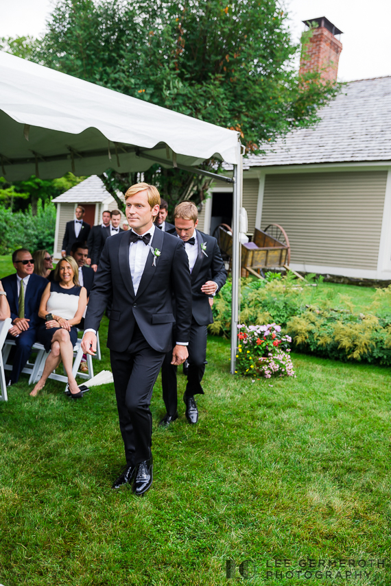 Groom walking down to ceremony -- Nelson NH Luxury Wedding Lee Germeroth Photography