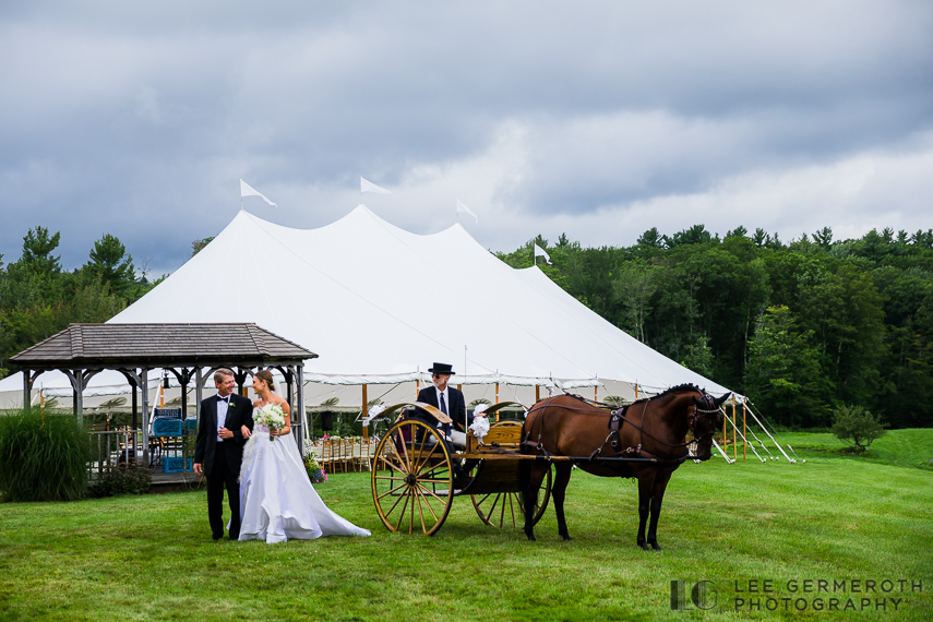 Bride arriving by horse and buggy -- Nelson NH Luxury Wedding Lee Germeroth Photography