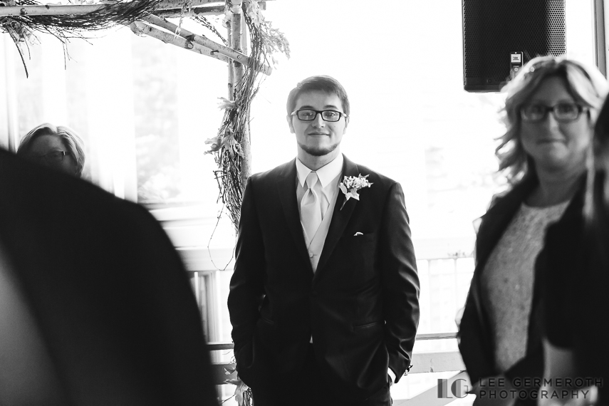 Groom first look - New Hampshire Country Club Wedding by Lee Germeroth Photography