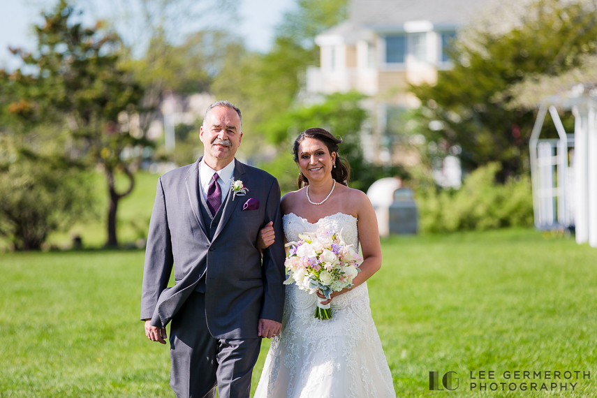 Walking down aisle -- Nonantum Resort Kennebunkport Maine Wedding by Lee Germeroth Photography