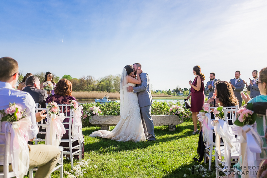 First Kiss -- Nonantum Resort Kennebunkport Maine Wedding by Lee Germeroth Photography