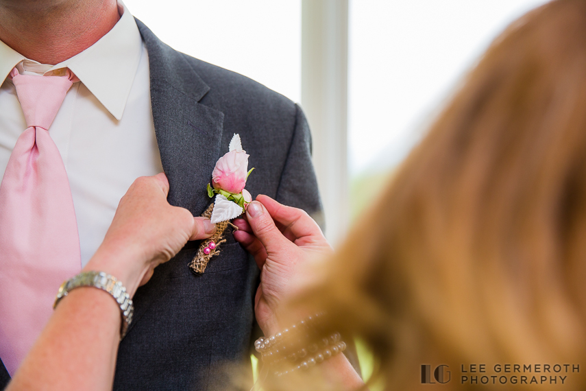 Pinning Boutonniere - Walpole New Hampshire Wedding by Lee Germeroth Photography